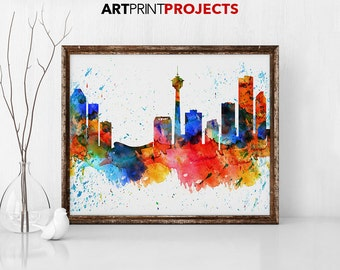 Calgary poster, Calgary skyline print, Alberta Canada cityscape, Travel, City prints, art print, wall art poster Home Decor ArtPrintProjects