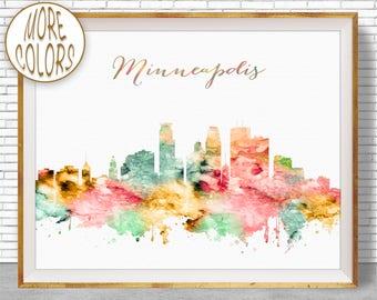 Minneapolis Print Minneapolis Art Minneapolis Skyline Minneapolis Minnesota Office Wall Art Skyline Art ArtPrintZone