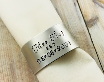 Mrs and Mr Napkin Holder, Personalized Metal Napkin Holder, Hand Stamped Aluminum Wedding Napkin Ring, Wedding Decor