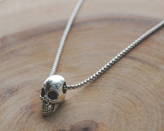 Skull Necklace for Men Antique Silver Human Skull Pendant