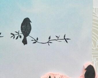 Birds on branch rubber stamp