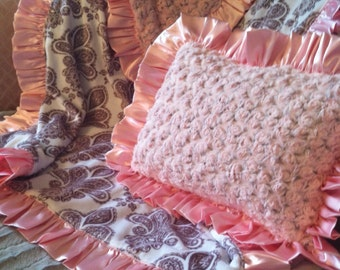 Pink and Gray Rosebud Minky Pillow Cover