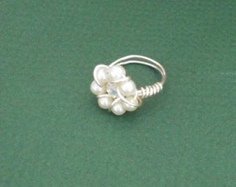 wire wrapped pearl ring size 4