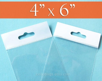 """300 HANG TOP Cello Bags: 4 x 6"""" Inch Clear Hanging Bags, Self Adhesive Display Bags"""