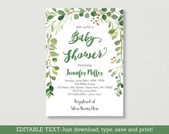 Rustic Green Floral Baby Shower Invitation / Floral Baby Shower / Watercolor Floral / Gender Neutral / Editable PDF INSTANT DOWNLOAD A178