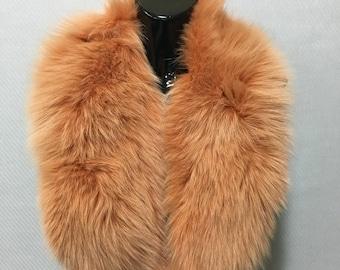 Real Natural Dark Orange Fox Fur Collar