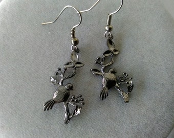 Black Bird Crow Raven Halloween Earrings