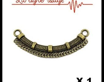 Connector shape bow antique Bronze striped 6.9 cm x 2.4 cm