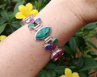 Awesome Multi Stone Raw Ruby Sapphire and Emerald Sterling Silver Link Bracelet