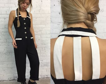 vintage black jumpsuit with cutout cage detail / 80s wide legged minimalist black and white one piece