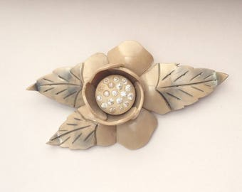 Carved Celluloid and Rhinestones Flower and Leaf Brooch - Unusual 1940s STRIKING and BEAUTIFUL Perfect for Spring and Summer!