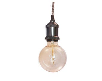 Pendant light-Retro metal Fitting black-Assorted cord colors