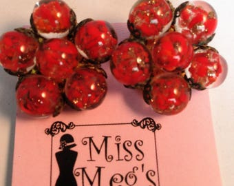 Ruby red bauble clip on earrings