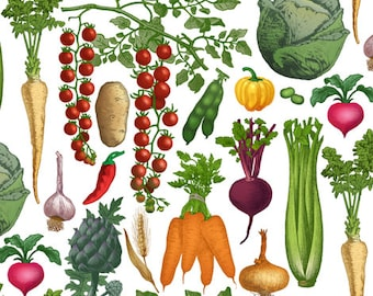 Fabric, retro, kitchen, VINTAGE, vegetables, vitamins