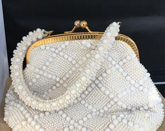 Vintage 60's white plastic beaded purse