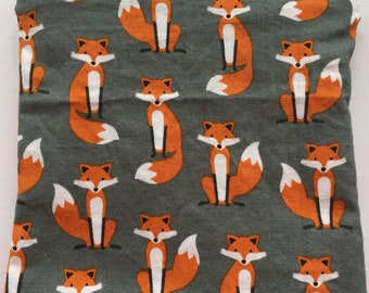 Fox on Gray-Snack Bag/ Reusable Snack Bag/ Lunch Bag/ Lunch Pouch/ Reusable Bag