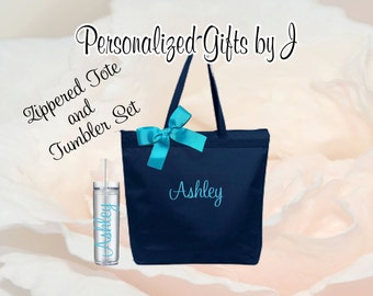 9 Bridesmaid Gifts Tote and Tumbler, Bridesmaids Gift, Zippered Wedding Tote and Tumbler Set, Personalized Tote and Tumbler, Bachelorette