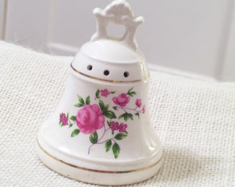 Vintage Japan Porcelain Rose Floral Pomander Bell Shaped with Handle