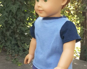 "18 "" Boy Doll color block blue top / T-shirt for 18"" Boy Doll - doll classic  tee -  boy doll clothes- Blue tshirt-  boy summer top"