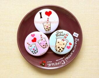 "Boba Milk Tea 1.75"" Pinback Button Set of 3. Tapioca Bubble Tea Badges. Geek Badges. Valentine Gift. Gift for Friends. Kawaii Buttons. Gift."