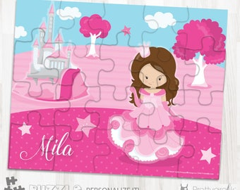 SALE Pink princess personalized puzzle, 20 pieces puzzle, name puzzle, Personalized name puzzle, Kids Personalized Gift - PU169