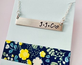Initial Necklace, Monogram Bar Necklace, Childrens Initials Necklace, Family Necklace, Personalized Bar Necklace, Mom Necklace