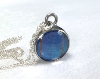 Real Blue Morpho Butterfly Wing Pendant Necklace on a Sterling Silver Chain. Nature's Reliquaries Collection