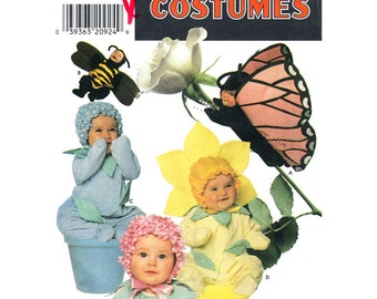 Toddler Costume Pattern Butterfly Bee Flower Simplicity 7868 Baby Photo Prop Toddler Sewing Pattern Size 1/2 to 4 UNCUT