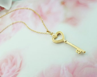Whimsical necklace red heart necklace key necklace heart gold key necklace heart key necklace key to my heart necklace key jewelry mozeypictures Choice Image