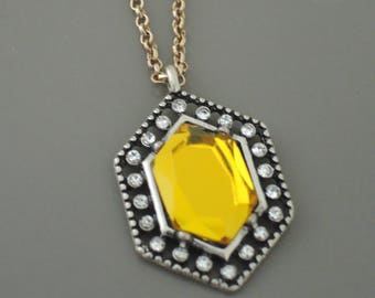 Vintage Inspired Necklace - Yellow Necklace - Mixed Metal Necklace - Crystal Necklace - Geometric Pendant Necklace - Chloe's Vintage Jewelry