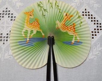 Vintage Asian Fan Two Deer Fawn Paper Metal Handheld Folding PanchosPorch