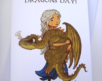 Mother of Dragons Card, Game of Thrones Card, Mother's Day Card, Greeting Card, Game of Thrones Art, Fun Card