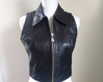 Vintage 1990s Black Cropped Zip up Leather Vest Womens Small