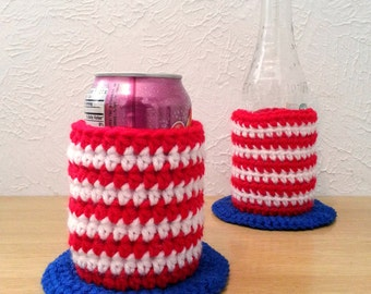 Patriotic Hat Can and Bottle Cozy, Summer Party Drinkware, Fourth of July Decoration, Uncle Sam Hat Cozies, Set of 2 Cozies