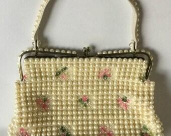 1950s GRANDEE BEAD Purse, Grandma Handbag Pearl & Clear Beads Pink Flowers USA