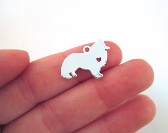 2 Collie Charms, Silver Plated Dog Charms, Pet Pendant Charms #582
