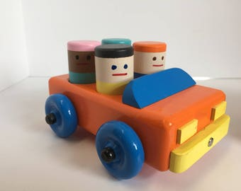 Wooden Toy Car with 4 Toy People