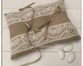 Ecru Linen pillow decorated with vintage lace with butterflies