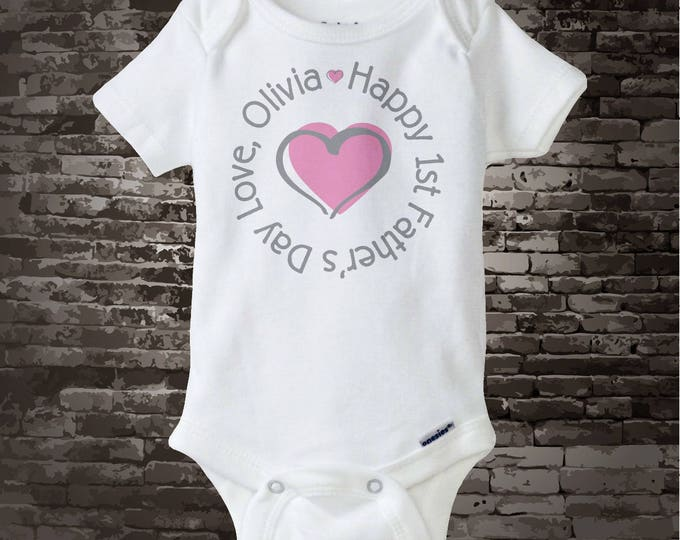 First Father's Day, New Dad Gift, 1st Fathers Day with Pink Heart Personalized DadTee Shirt or Onesie 05102012c