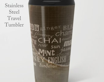 Hot Tea Tumbler-Types of Teas Mug-Chai-Matcha-Stainless Steel Mug-Insulated Tea Mug-15 oz Metal Mug-Tea Travel Mug-Insulated Travel Mug