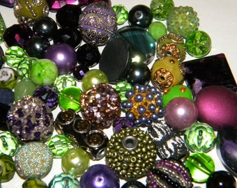 NEW 30 Purple's/Green's Jesse James Beads Loose Assorted Random Mix Bag of different beads