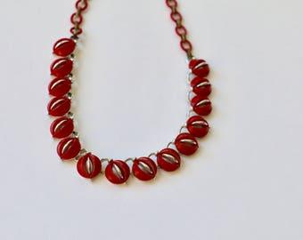 Vintage Lisner Necklace / Bakelite Era Jewelry / 1940s Necklace 1950s Necklace Cherry Red Plastic Silver tone Metal