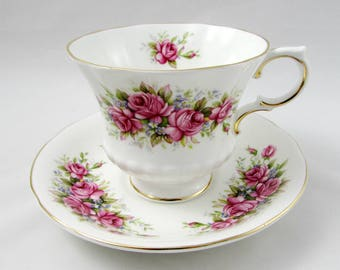 Paragon Flower Festival L Tea Cup and Saucer, Vintage Bone China, Pink Roses, Teacup and Saucer