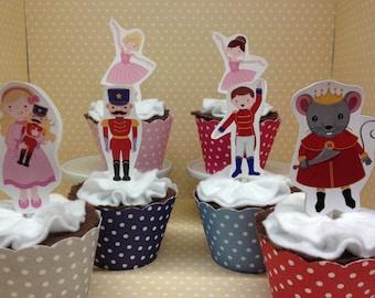 Nutcracker Ballet Christmas Party Cupcake Topper Decorations - Set of 10