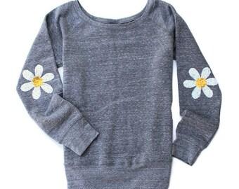 Daisy Shirt. Sequin Daisy Elbow Patch. Cute Sweatshirt. Tumblr Shirt. Floral Shirt. Holiday Gift Idea. Love and Bambii Emmy Sweatshirt. Boho