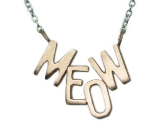 MEOW Necklace in 10K Gold and Sterling Silver