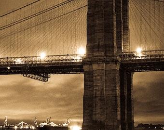 Brooklyn Bridge, Golden Hour, Fine Art Photography Print, Landmark, New York City, Nautical Film, Free Shipping