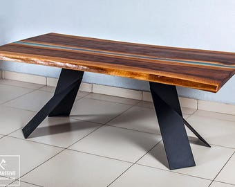 Walnut table | Table wood epoxy | Resin river table | Slabs table | Live edge table | Table loft | Table wood metal | Resin furniture