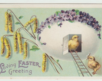 Vintage Easter Postcard, Chick in Easter Egg Home with Ladder, 1911