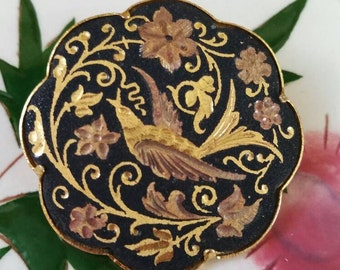 Vintage Damascene Gold Floral and Song Bird Pin